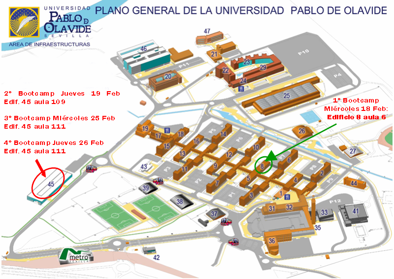Plano aulas bootcamps Pablo de Olavide Sevilla